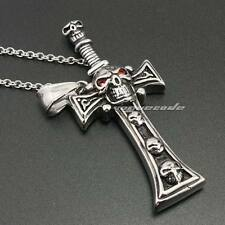 316L Stainless Steel CZ Eyes Skull Sword Cross Mens Biker Pendant 2Q032A 24""
