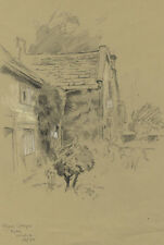 Stavard Cash - 1914 Charcoal Drawing, Plague Cottages, Eyam, Derbys