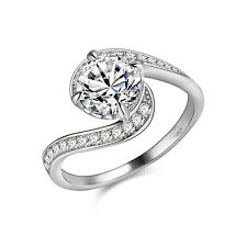Women's Round CZ 925 Sterling Silver White Gold Plated Engagement Ring Size 6-9
