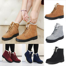 Women Winter Warm Casual Faux Suede Fur Lace-up Ankle Martin Boots Snow Shoes