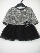 BNWOT Girls Fully Lined - Netted Black/Grey Dress Age 12 Months to 6 Years