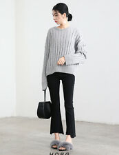 Wome's Round Neck Long Sleeve Rib Knitted Warn Thick Sweater