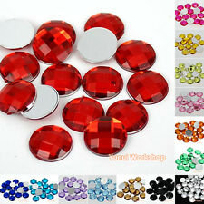 100pcs Colors Round Checker Cut Acrylic Flat Back Rhinestones Scrapbook Craft