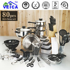 Cookware Set 80 PCS Stainless Steel Casserole Pots Pans Utensil Kitchen Cooking