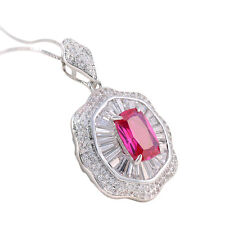Women's Emerald Red Ruby Gemstone Topaz White Gold Plated Pendant Chain Necklace