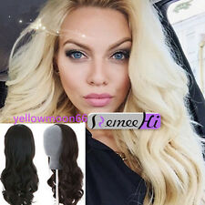 16-24''Indian Remy Human Hair Body Wave Half 3/4 Glueless Wig Weft Cap Clip-on
