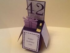 Handmade card Pop up aged birthday champagne and present design. (Personalised)