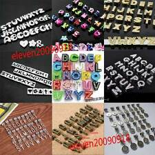 Set A-Z Charms Letters Rhinsestone Spacer Slide Beads DIY For Bracelet Necklace