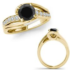 1 Ct Black Diamond By Pass Solitaire Halo Anniversary Fancy Ring 14K Yellow Gold