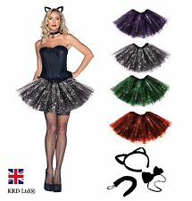Ladies WITCHES SPIDER WEB BLACK CAT Halloween Fancy Dress Tutu Costume Skirt UK