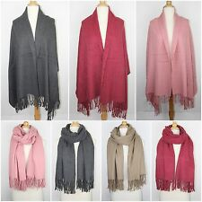 Oversize Plain Solid Pure Color Cashmere Feel Scarf Winter Warm Thick Wrap Shawl