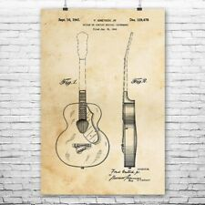 Gretsch Acoustic Guitar Poster Patent Art Print Gift Player Guitarist Teacher
