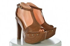 Jessica Simpson Womens Tan Platform Pumps Sz 8/38 Leather Heels Shoes