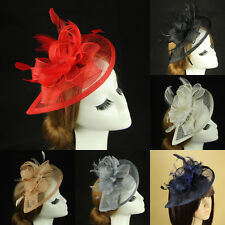 Teardrop Sinamay & Feathers Hat Fascinator - Occasion Wedding Races