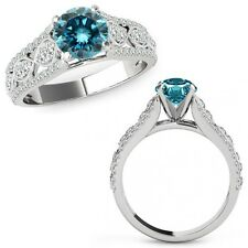 1.50 Ct Blue Diamond Lovely Solitaire Halo Wedding Ring Band 14K White Gold