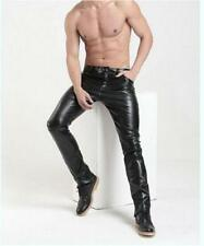 Hot Punk Men's PU Leather Casual Slim Fit Skinny Stylish Trousers Pants New
