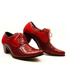 Men's 2.36inch high Cuban Heel Pointed Toe boot PU Leather Dress Shoes Black/Red