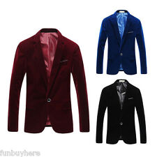 Formal Mens Jacket WARM Winter Stylish Slim Fit Suit Blazers Coat One Button Top