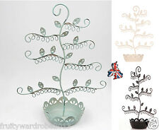 Shabby chic flower earrings stand jewellery tree vintage shabby bedroom