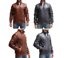 Mens New Brown Tan Classic Casual Tailored Fitted 3 Button Blazer leather Jacket