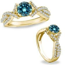 1 Ct Blue Diamond Crossover Solitaire Halo Promise Ring Band 14K Yellow Gold