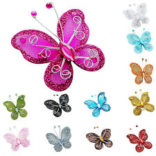 10Pcs Mixed Organza Wire Rhinestone Butterfly Wedding Decorations BF
