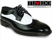 New Mens Two Tone Black White Classic Wing Tip Lace Up Dress Shoe Formal Tuxedo