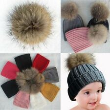 Lovely Baby Warm Winter Child Knit Raccoon Fur Pom Bobble Hat Crochet Ski Caps