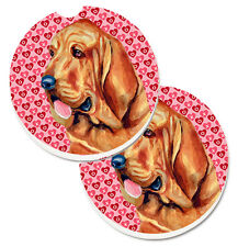 Bloodhound Hearts Love and Valentine's Day Portrait Set of 2 Cup Holder Car Coas