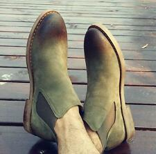 Mens Suede Leather Ankle Chelsea Boots Casual Retro Round Toe Trend Desert Shoes