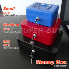 Cash Box Money Box with Coin Tray Petty Cash new 3 colors Portable Sturdy Metal