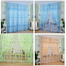 Floral Tulle Voile Curtain Drape Panel Sheer Scarf Valances Door Window Decor