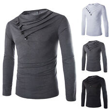 Mens Cotton Casual Slim Personality Fold Button Long Sleeve Casual Tee Shirts xc