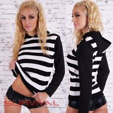 Womens Hoodie Jumper Size 8 10 12 Casual Leisure Wear Sweater Black and White