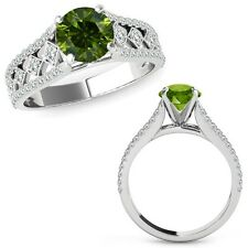 1 Ct Green Diamond Beautiful Solitaire Halo Engagement Ring Band 14K White Gold