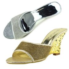 Womens Wedges Heels Classic Party Looks Open Toe Wedding Silver Gold Shoes