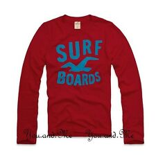 NEW HOLLISTER LONG SLEEVE TEE Little Dume Graphic Crew Neck T-Shirt Red S M L XL