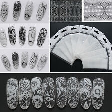 HOT 3D 9 Sheets Black White Lace Flower Nail Art Decals Stickers Tips Decoration
