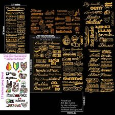 JDM Mega Sticker Pack of 143 Stance Low Gold Vinyl Decals Stickers Dope Drift 1