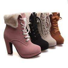 Womens block heels lace up faux suede ankle boots Fur Lining Winter US4.5-10.5