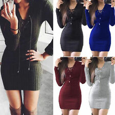 Womens Ladies Lace Up Knitted Bodycon Jumper Dress Winter Bodycon Party Dresses