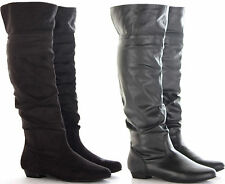 WOMENS LADIES BLACK FLAT HEEL CALF KNEE HIGH RIDING LEATHER STYLE BOOTS SIZE 3-8