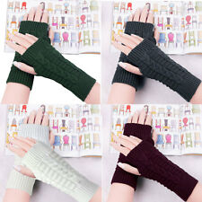 Unisex 7 Colors Knitted Fingerless Winter Gloves Soft Warm Couples Mittens New