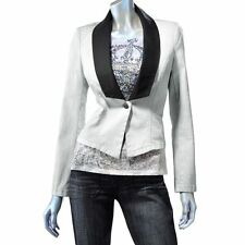 NWT~ROCK & REPUBLIC Wash Fitted Denim Blazer Jacket~Gray/Black Trim ~See Szs~$90