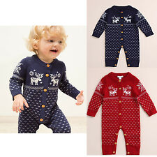Newborn Infant Baby Girl Boy Soft Cotton Knit Long Sleeve Jumpsuit Xmas Rompers