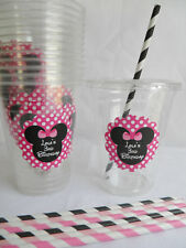 Set of 24- Personalized Minnie Mouse Party Cups with Lids and Straws- Red Pink