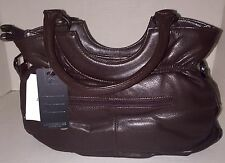 Stylish Chocolate Brown Leather Purse with Shoulder Strap