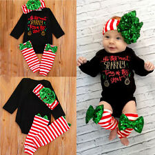 3pcs Christmas Outfits Infant Baby Girl Romper Bodysuit Leg Warmers Xmas Costume
