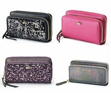 NEW! Juicy Couture Wallet Clutch Faux Leather - Double Zipper pockets BLING!