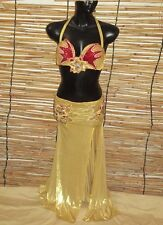 Egyptian Belly Dance Costume bra & Skirt  Professional Dancing Gold Red Silver